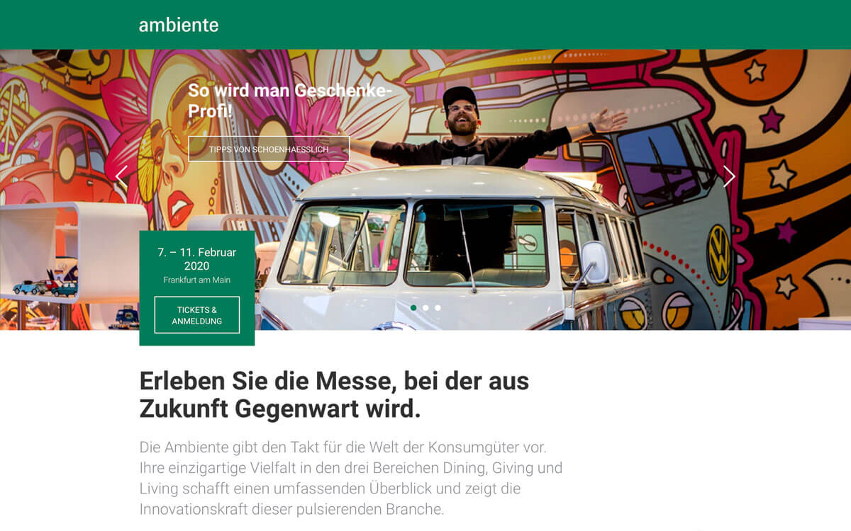 Header der Event-Website der Ambiente-Messe in Frankfurt am Main